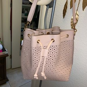 NWT H&M Pink Perforated Bucket Drawstring Bag